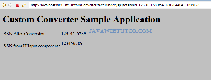 JSF Custom Converter Example in Eclipse