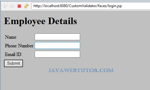 JSF Validation Example