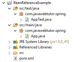 Spring Bean Reference  example in Eclipse