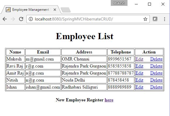 CRUD Example using Spring MVC, Hibernate, Maven and MySQL | Java Web